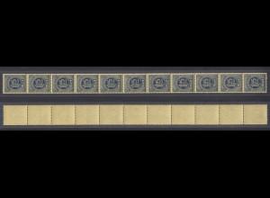 Dt. Reich D 31 Dienstmarke 11er Streifen 1,25 M ungefaltet postfrisch
