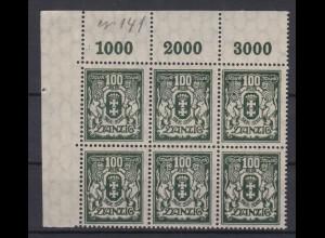 Danzig 141 Eckrand links oben 6er Block Kleines Staatswappen 100 M postfrisch