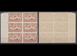 Danzig 118 6er Block Seitenrand links Flugpostmarken (III) 20 M postfrisch