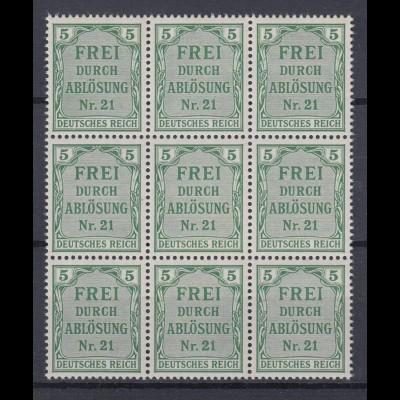 Deutsches Reich Dienst D 3 9er Block für Preußen 5 Pf postfrisch