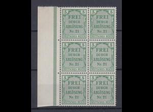 Dt. Reich Dienst D 3 6er Block mit Seitenrand links für Preußen 5 Pf postfrisch