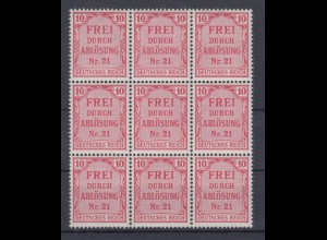 Deutsches Reich Dienst D 4 9er Block für Preußen 10 Pf postfrisch