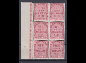 Deutsches Reich Dienst D 4 4er Block mit Seitenrand links für Preußen 10 Pf **