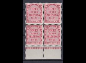 Deutsches Reich Dienst D 4 4er Block mit Unterrand für Preußen 10 Pf postfrisch