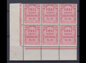 Deutsches Reich Dienst D 4 Eckrand links unten 6er Block für Preußen 10 Pf **