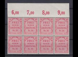 Deutsches Reich Dienst D 4 8er Block mit Oberrand für Preußen 10 Pf postfrisch