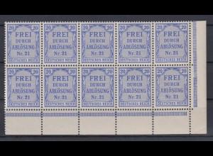Deutsches Reich Dienst D 5 Eckrand rechts unten 10er Block 20 Pf **