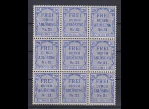 Deutsches Reich Dienst D 5 9er Block für Preußen 20 Pf postfrisch