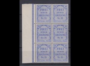 Deutsches Reich Dienst D 5 6er Block mit Seitenrand links 20 Pf postfrisch