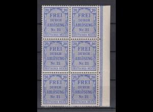 Deutsches Reich Dienst D 5 6er Block mit Seitenrand rechts 20 Pf **