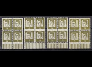 Bund 347 4x Unterrand Papier x, y Rand Typ I+II, y helle Farbe 5 Pf postfrisch