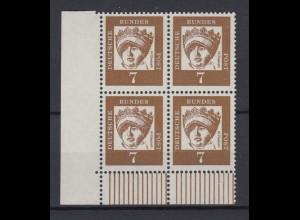 Bund 348y 4er Block Eckrand links unten Bedeutende Deutsche 7 Pf postfrisch