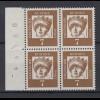 Bund 348y 4er Block Seitenrand + Bogennummer links Bedeutende Deutsche 5 Pf **