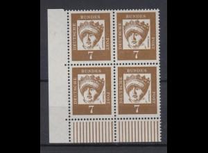 Bund 348y 4er Block Eckrand links unten DZ 7 Bedeutende Deutsche 7 Pf postfrisch