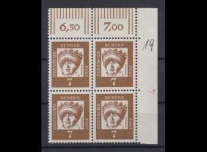 Bund 348y 4er Block Eckrand rechts oben DZ 4 Bedeutende Deutsche 7 Pf postfrisch