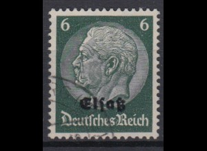 Elsaß 2 Hindenburg mit schwarzem Bdr. Aufdruck 4 Pf gestempelt /2
