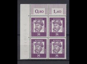 Bund 349x 4er Bl. Eckrand links oben mit Bogennummer Bedeutende Deutsche 8 Pf **