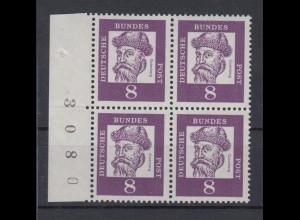 Bund 349x 4er Block Seitenrand links mit Bogennummer Bedeutende Deutsche 8 Pf **