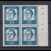 Bund 351y 4er Bl. mit Seitenrand rechts Bogennummer Bedeutende Deutsche 15 Pf **
