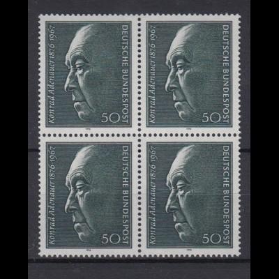 Bund 876 4er Block 100. Geburtstag Konrad Adenauer 50 Pf postfrisch
