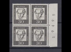 Bund 354y 4er Block mit Seitenrand re.+ Bogennummer Bedeutende Deutsche 30 Pf **