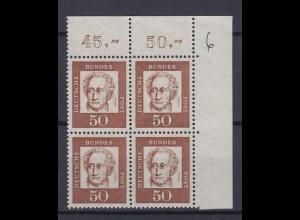 Bund 356y Eckrand rechts oben 4er Block Bedeutende Deutsche 50 Pf postfrisch /1