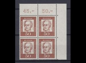 Bund 356y Eckrand rechts oben 4er Block Bedeutende Deutsche 50 Pf postfrisch /2