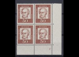 Bund 356y Eckrand rechts unten 4er Block mit FN 2 Bedeutende Deutsche 50 Pf **