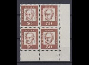 Bund 356y Eckrand rechts unten 4er Block mit FN 1 Bedeutende Deutsche 50 Pf **