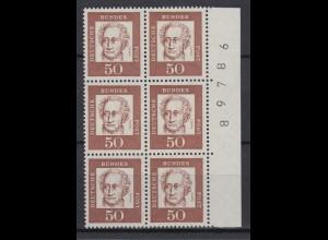Bund 356y 6er Block mit Seitenrand + Bogennummer Bedeutende Deutsche 50 Pf **