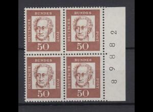 Bund 356y 4er Block mit Seitenrand + Bogennummer Bedeutende Deutsche 50 Pf **