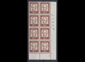 Bund 356y 8er Bl. Eckrand rechts unten FN2 Bogennr. Bedeutende Deutsche 50 Pf **