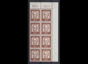 Bund 356y 8er Bl. Eckrand rechts oben mit Bogennr. Bedeutende Deutsche 50 Pf **
