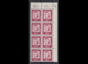 Bund 357y 8er Bl. Eckr. rechts oben mit Bogennummer Bedeutende Deutsche 60 Pf **
