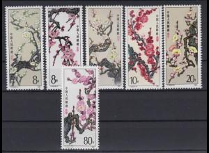 China 2000-2005 Mei-Blumen 3x 8 F, 10 F, 20 F, 80 F postfrisch