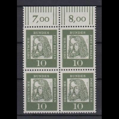 Berlin 202 mit Oberrand 4er Block Bedeutende Deutsche 10 Pf postfrisch