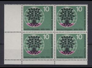 Bund 326 4er Block Eckrand link unten Weltflüchtlingsjahr 10 Pf postfrisch