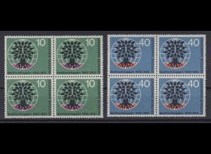Bund 326-327 4er Block Weltflüchtlingsjahr 10 Pf + 40 Pf postfrisch