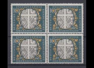 Bund 329 4er Block Passionsspiele Oberammergau 10 Pf postfrisch