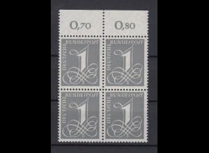 Bund 226y mit Oberrand 4er Block Ziffernzeichen 1 Pf postfrisch Fluoreszierend