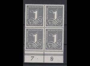 Bund 226y 4er Block mit Unterrand Ziffernzeichen 1 Pf postfrisch Fluoreszierend