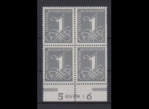Bund 226y 4er Block mit Unterrand + HAN 315074 1 Ziffernzeichen 1 Pf ** Fluores.