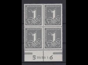 Bund 226y 4er Block mit Unterrand + HAN 215255 1 Ziffernzeichen 1 Pf ** Fluores.