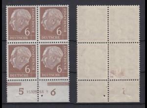 Bund 180v 4er Block Unterrand mit HAN Theodor Heuss 6 Pf postfrisch /2