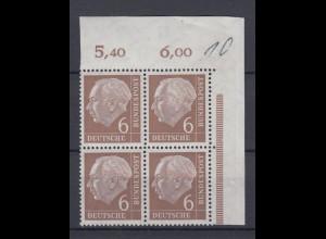 Bund 180v Eckrand rechts oben 4er Block Theodor Heuss 6 Pf postfrisch