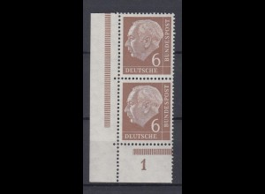 Bund 180v Eckrand links unten senkrechtes Paar Theodor Heuss 6 Pf postfrisch