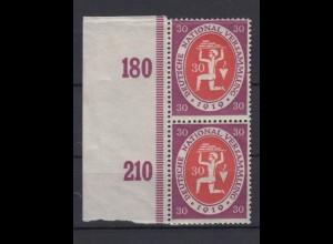 Deutsches Reich 110c mit Seitenrand senkrechtes Paar Maurer 30 Pf postfrisch