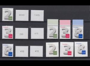 Briefmarken Ergänzungswerte 2 – 3 – 8 – Cent 2964 3042 3188
