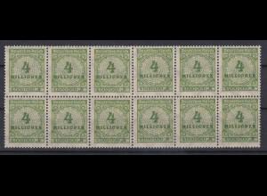 Dt. Reich 316 AP 12er Block mit 2x Plattenfehler Ziffern im Kreis 500 Mio M **