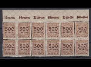 Dt. Reich 313 AP 12er Block Oberrand mit 2x Plf. Ziffern im Kreis 500 Tsd M **
